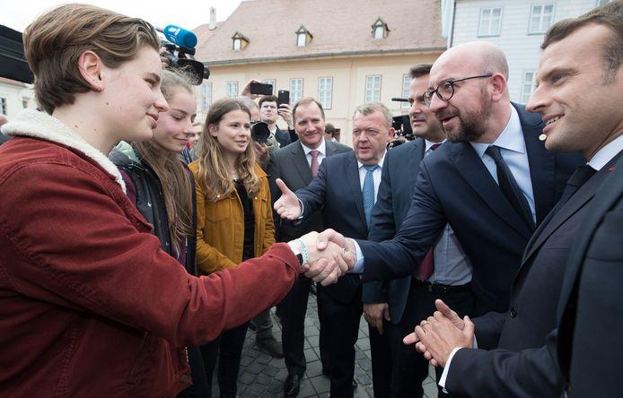Anuna De Wever ontmoet samen met enkele andere klimaatactivisten de Deense premier Lars Lokke Rasmussen, de Luxemburgse premier Xavier Bettel, de Belgische premier Charles Michel en de Franse president Emmanuel Macron.