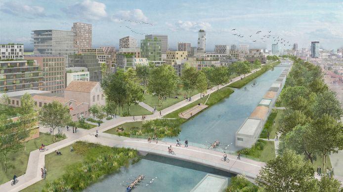 Artist impression van de Merwedekanaalzone, het grootste nieuwbouwgebied van Utrecht. Veel hoogbouw en weinig ruimte voor auto's.