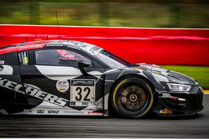 De WRT Audi R8 LMS van Dries Vanthoor waarmee hij van de 55ste naar de tweede plaats zou rijden.