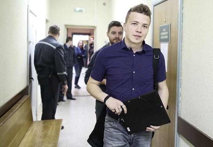 Roman Protasevisj ten tijde van zijn proces in Minsk in 2017.
