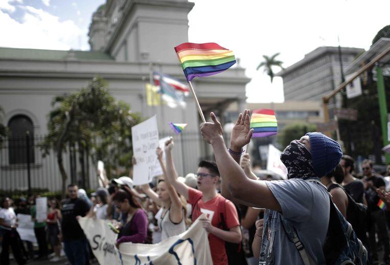 Archiefbeeld. In januari 2018 kwamen demonstranten in San Jose de straat op uit protest tegen het verbod op homohuwelijken.