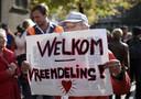 Mensen die hun steun willen betuigen aan vluchtelingen kwamen in oktober bijeen in het centrum van Utrecht.