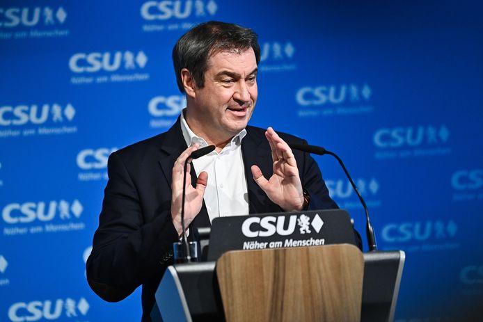 CSU-leider Markus Söder tijdens zijn toespraak na de steunverklaring van zijn partij in München.