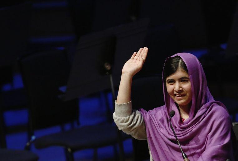 Malala Yousafzai spreekt in Londen tijdens Internationale Vrouwendag. Beeld null