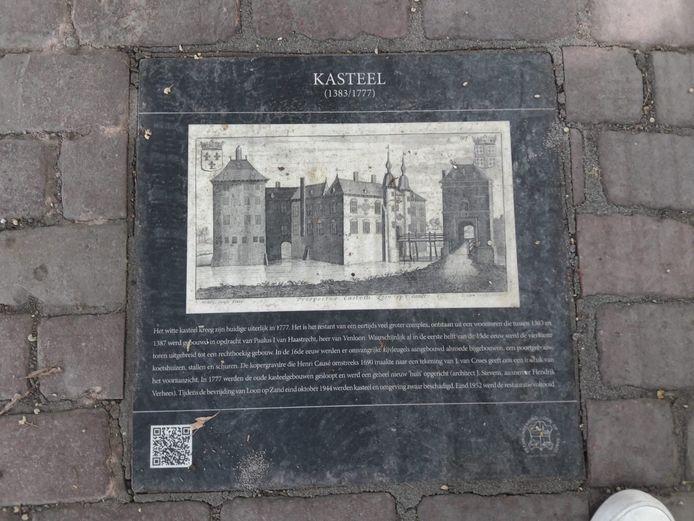Een tekening van het oude kasteel in Loon op Zand. De steen ligt bij de entree naar het Witte Kasteel.