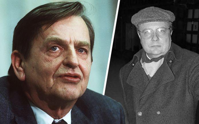 Het Zweedse gerecht gaat er na 34 jaar onderzoek van uit dat Stig Engström (rechts) in 1986 toenmalig premier Olof Palme (links) heeft doodgeschoten op straat.
