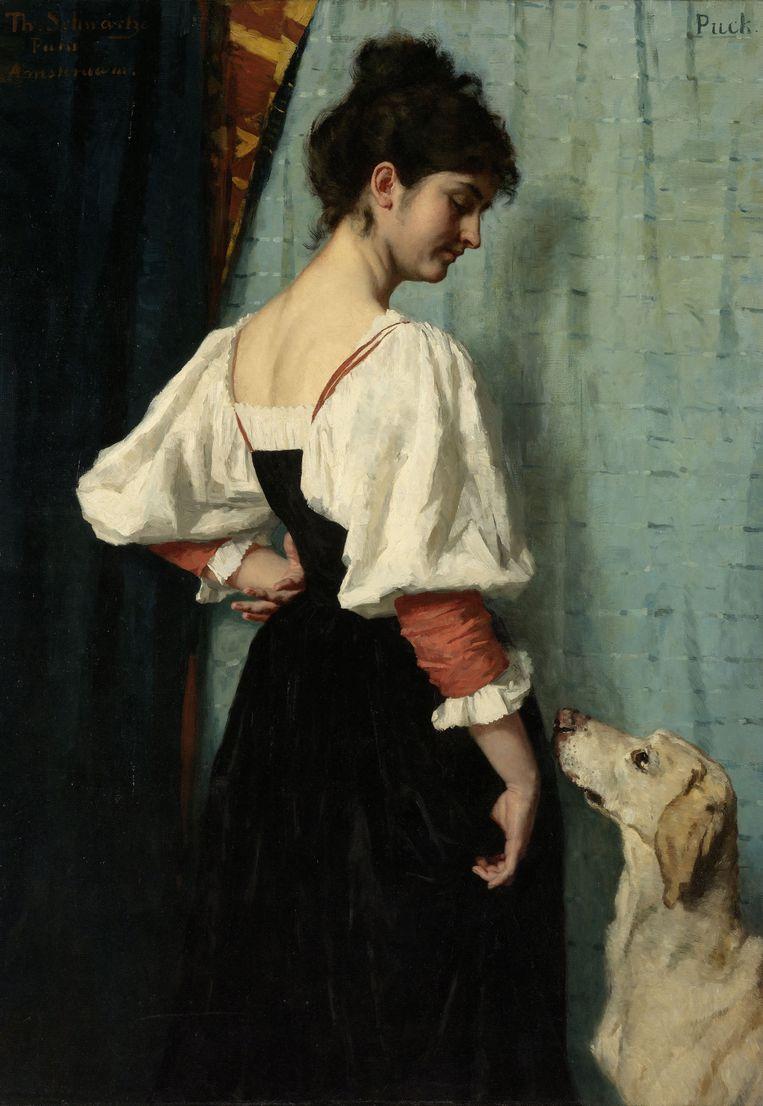 Thérèse Schwartze: Portret van een jonge vrouw met de hond Puck (ca. 1879-1885).   Beeld Sepia Times/Universal Images Gro