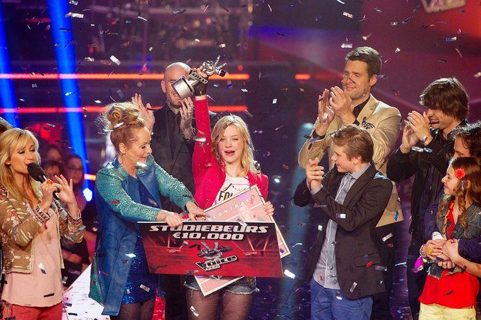 Fabiënne Bergmans wint de eerste Voice Kids. Foto ANP
