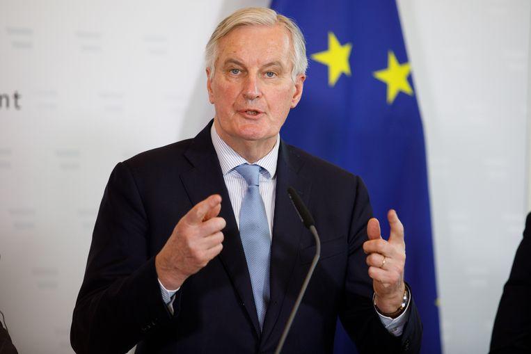 Michel Barnier heeft als EU-onderhandelaar met de Britse Brexitminister Stephen Barclay heeft gewerkt naar een (vooralsnog niet-bestaand) Brexit-akkoord.  Beeld EPA