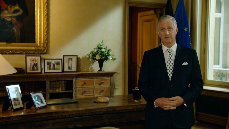 Koning Filip tijdens zijn toespraak naar aanleiding van 21 juli Beeld rv