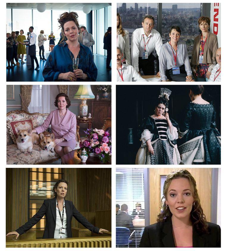 Van links naar rechts: Olivia Colman in 'Fleabag', 'Twenty Twelve', seizoen 3 van 'The Crown',  'The Favourite', 'Broadchurch' en 'Peep Show'. Beeld