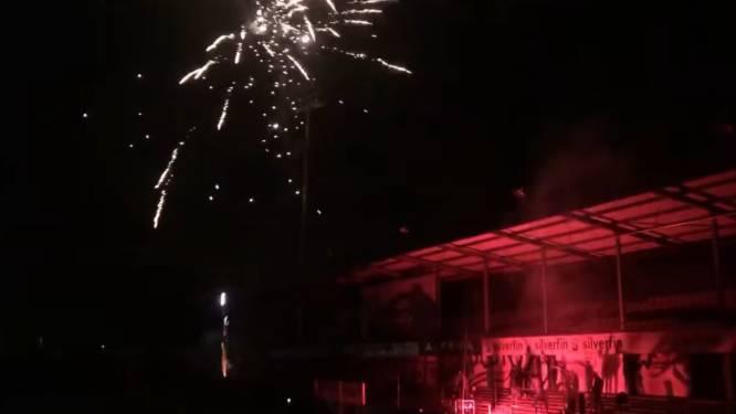Fans Lokeren-Temse vieren degradatie Waasland-Beveren met vuurwerk