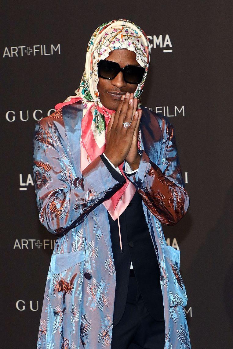 Nee, het is niet Mien Dobbelsteen. Het is A$AP Rocky.  Beeld Getty Images