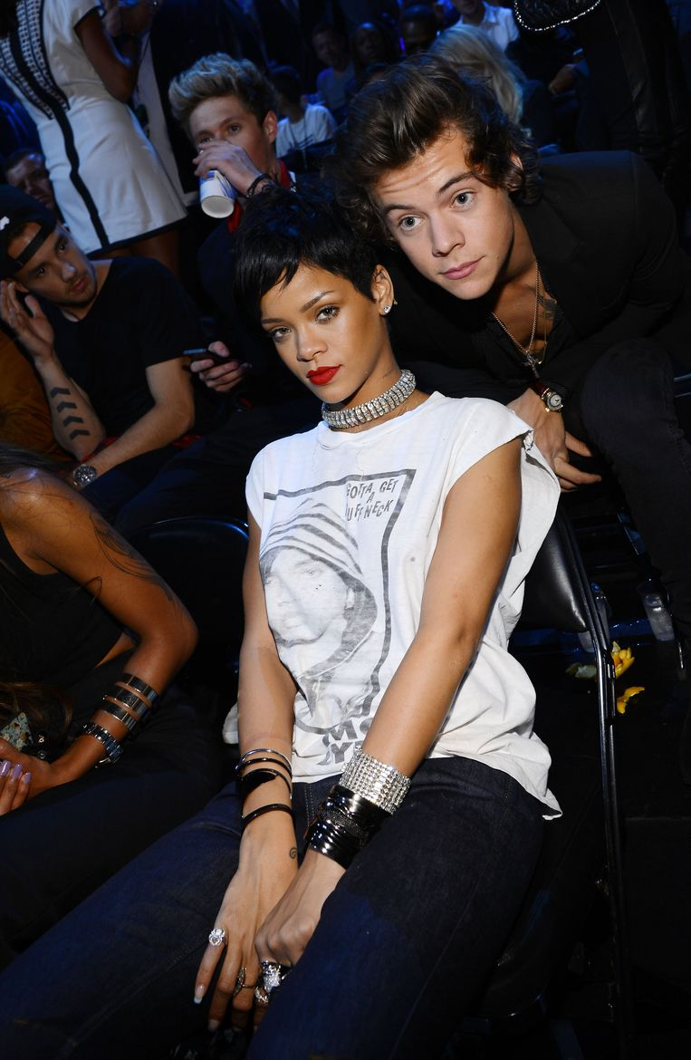 NEW YORK, NY - AUGUST 25:  Rihanna and Harry Styles attends the 2013 MTV Video Music Awards at the Barclays Center on August 25, 2013 in the Brooklyn borough of New York City.  (Photo by Larry Busacca/Getty Images for MTV) Beeld Getty Images for MTV