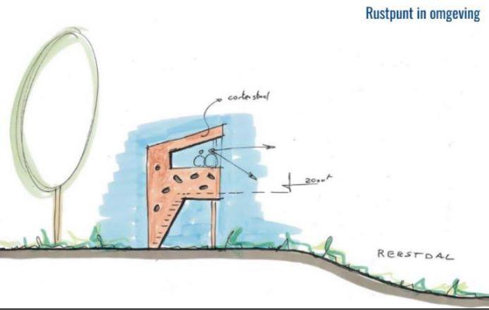 Impressie van de te bouwen tweede uitkijktoren die uitzicht biedt over het Reestdal.