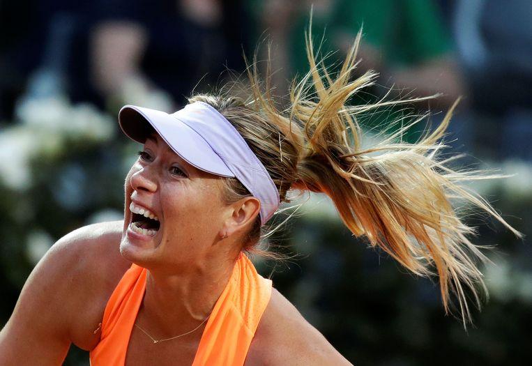 Maria Sjarapova krijst als vanouds op het toernooi van Rome. Beeld Photo News