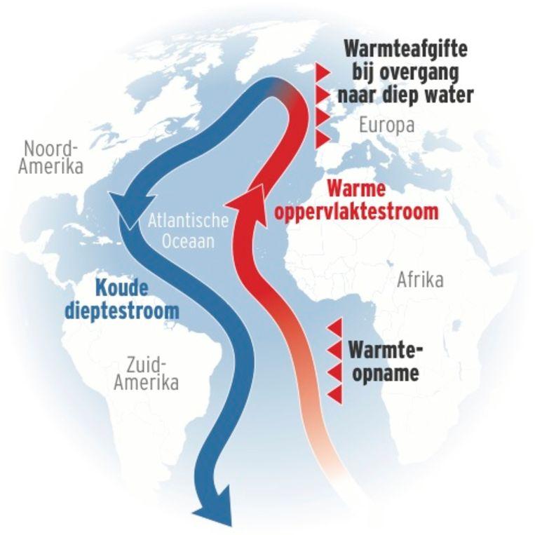 Doordat het oceaanwater opwarmt, worden belangrijke oceaanstromen zoals de Golfstroom, verzwakt. Daardoor zal de temperatuur veranderen.
