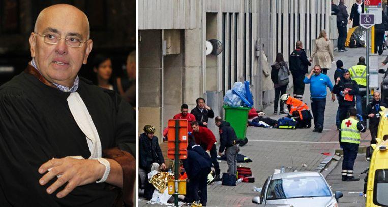 Advocaat Jean-Paul Tieleman. Rechts beelden van de aanslag op 22 maart.  Beeld photo news