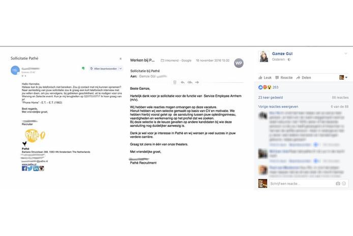 Het bericht op de Facebookpagina van Gamze Gül, met links de uitnodigingsbrief voor 'Hanneke'.