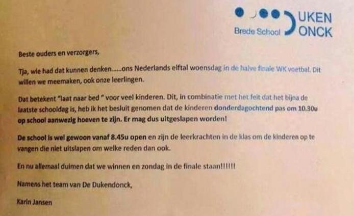 De brief van directeur Karin Jansen/Twitter: @OudersOnderling