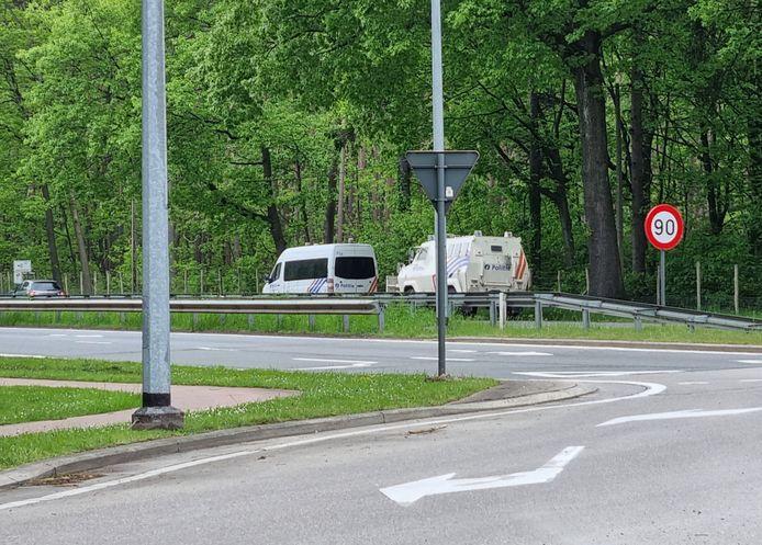 Politiewagens zijn vandaag weer bij Nationaal Park Hoge Kempen in Dilsen-Stokkem.