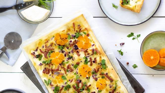 Wat Eten We Vandaag: Flammkuchen met Camembert en mandarijn