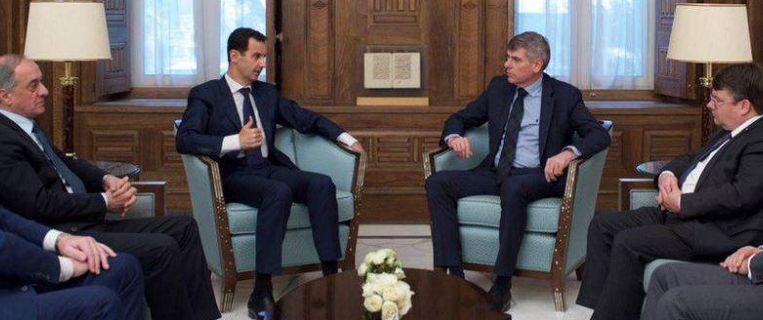Filip Dewinter was leider van een parlementaire delegatie die op uitnodiging van Assads regering een bezoek bracht aan Syrië. Beeld Twitter / Syrian Presidency