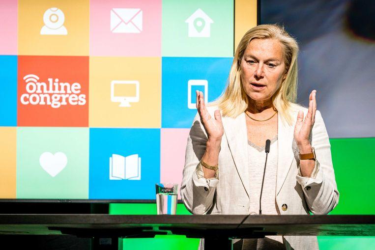 Minister Sigrid Kaag voor Buitenlandse Handel en Ontwikkelingssamenwerking tijdens het online partijcongres van D66. Beeld ANP/Rob Engelaar