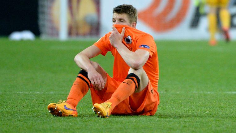 Een ontgoochelde Brandon Mechelen na de uitschakeling tegen Dnipro, het knappe avontuur van Club doet de kassa rinkelen. Beeld PHOTO_NEWS