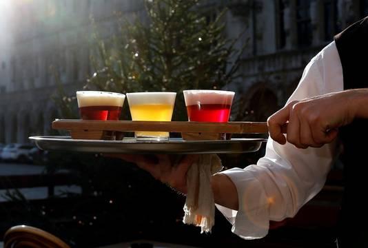 Belgisch bier in de Belgische driekleur in Brussel.