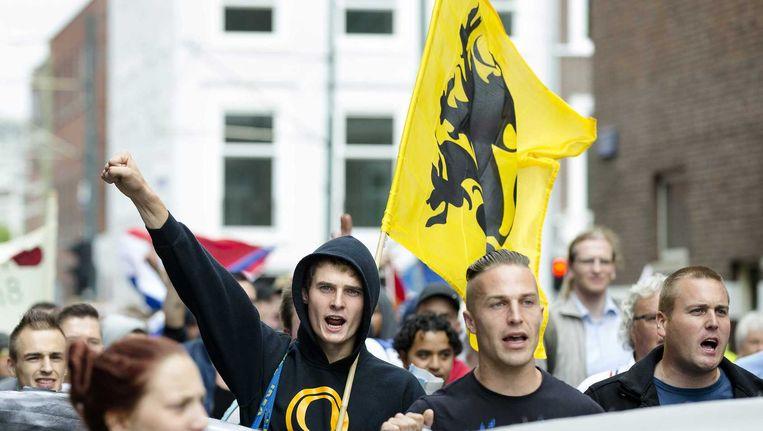 Demonstranten tijdens de 'Mars van de vrijheid' op 10 augustus in Den Haag. Beeld anp