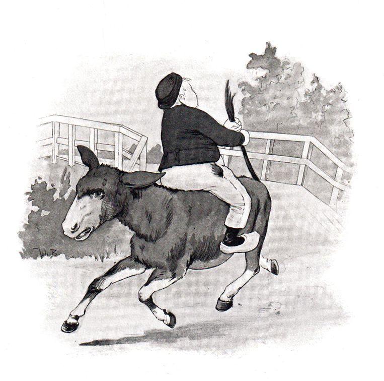 Dik Trom op de ezel, tekening van Johan Braakensiek. Beeld Kinderboekenmuseum Het Schooltje van Dik Trom