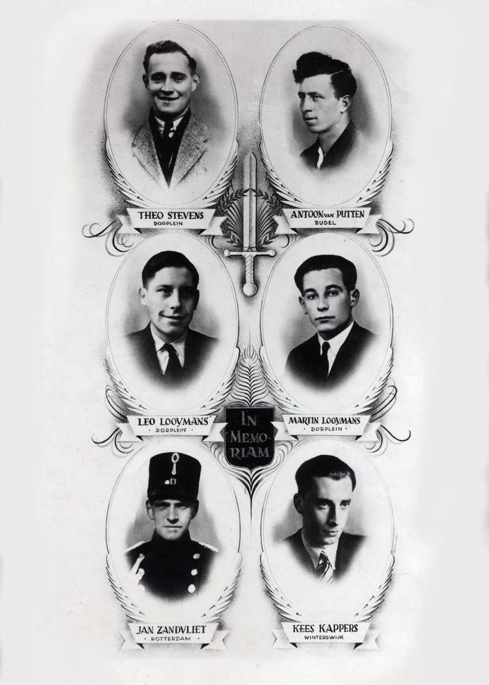 Het bidprentje voor de 'Zes van Dorplein': Theo Stevens, Antoon van der Putten, Leo Looymans, Martin Looymans, Jan Zandvliet en Kees Kappers.