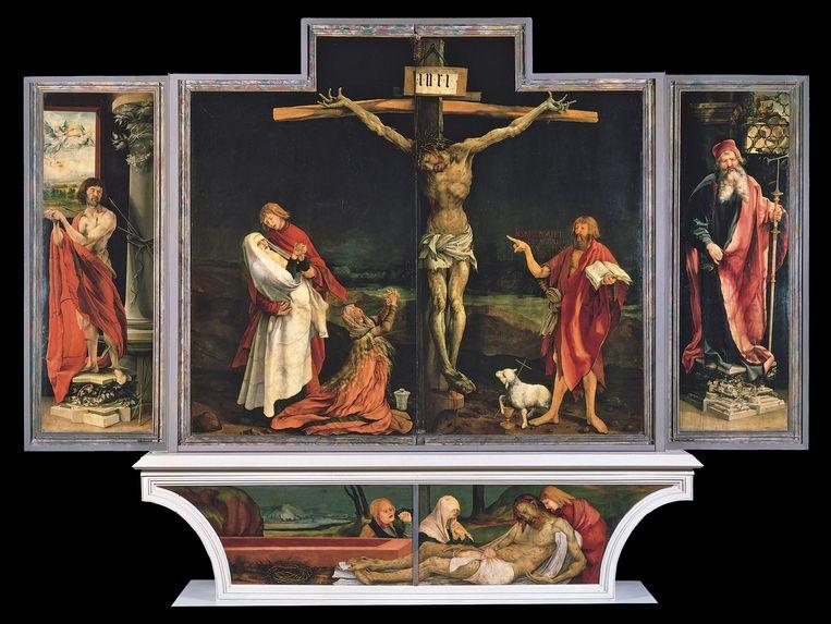 Matthias Grünewald, het altaarstuk van Isenheim (tussen 1509 en 1515), olie op een paneel van 269 centimeter breed en 307 centimeter hoog. Beeld