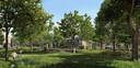Impressie van hoe Buurtschap Te Veld aan de Castiliëlaan in Eindhoven er uit moet komen te zien, met zo'n 700 tijdelijke woningen.