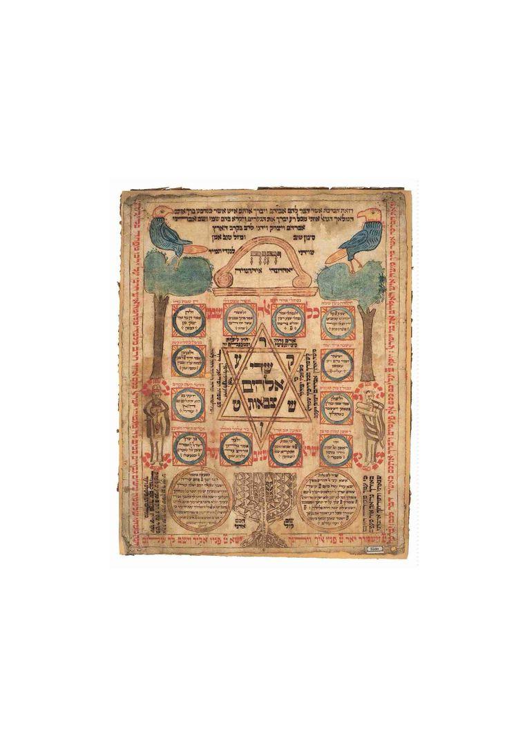Amulet voor een kraamvrouw met figuratieve illustraties, Oost-Europa (?), 16de /17de eeuw.   Beeld Joods Museum Wenen