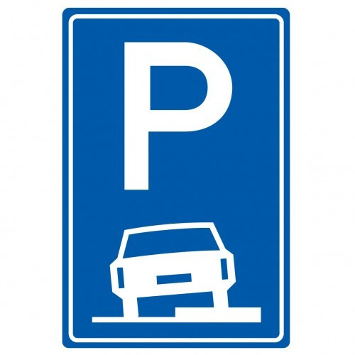 Verkeersbord E08b: parkeren op de stoep toegestaan.