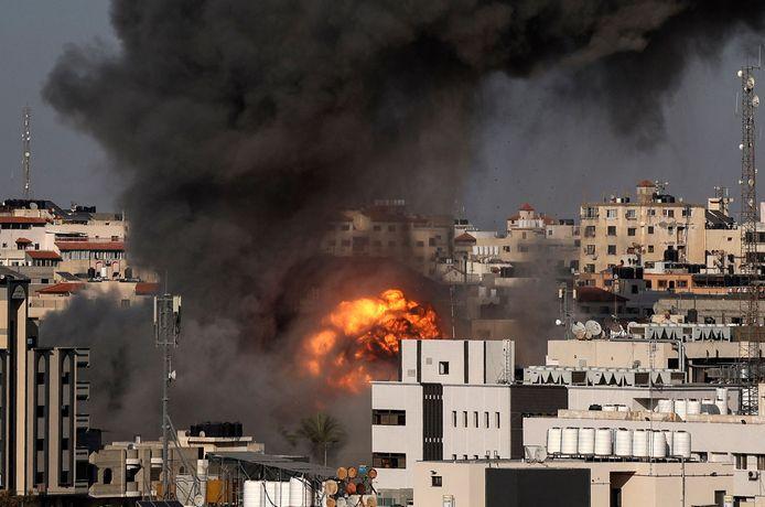 Frappe israélienne visant Gaza City, ce vendredi 14 mai.