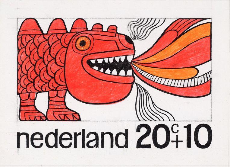 wie is er niet met kinderpostzegels langs de deur gegaan? Zwitserland had in 1912 de primeur, Nederland volgde als tweede in 1924. Dit ontwerp uit 1968 is van Ootje Oxenaar, vooral bekend van zijn guldenbankbiljetten. Beeld