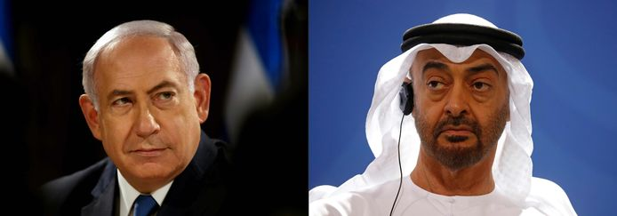 De Israëlische premier Benjamin Netanyahu en Sheikh Mohammed Bin Zayed, kroonprins van Abu Dhabi.