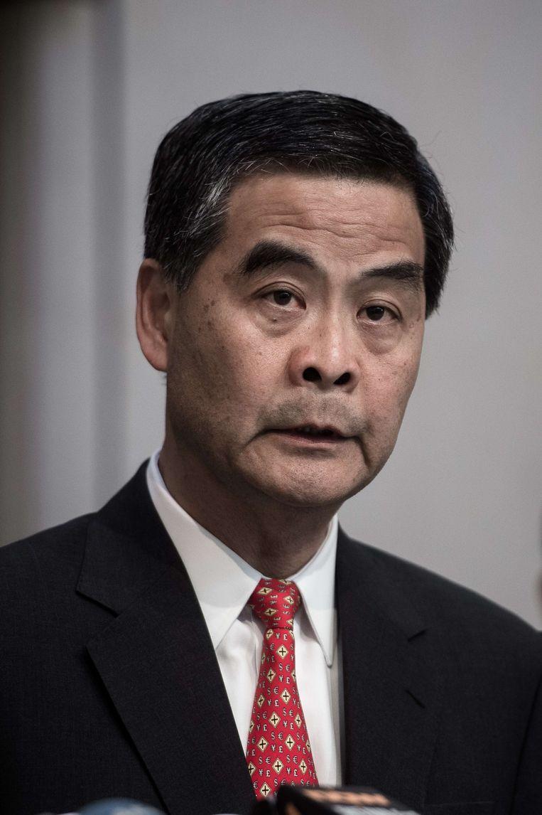 Hongkongs regeringsleider Leung Chun-ying riep inderhaast de pers bijeen. Beeld AFP