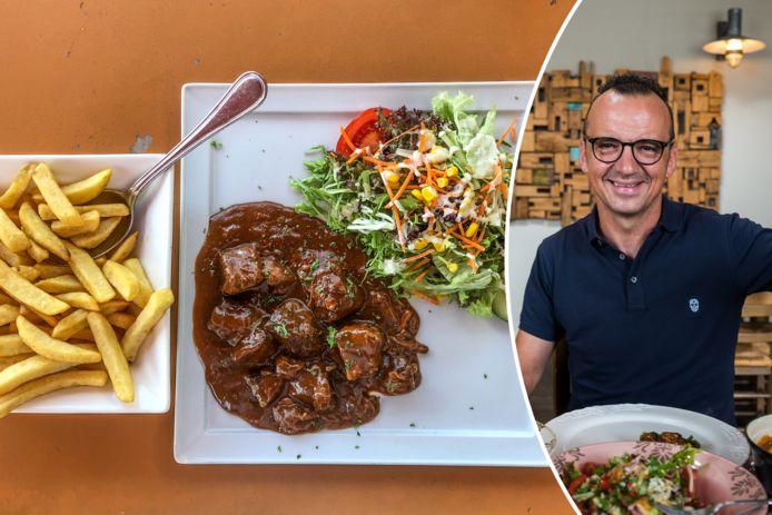 Luc Bellings proeft stoofvlees-friet aan de kust.