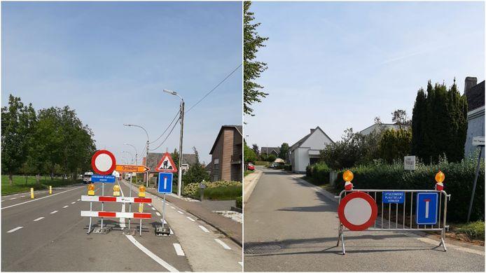 Het verkeer uit Smetlede wordt omgeleid via de Adolf Papeleustraat... om er zich vervolgens vast te rijden in het plaatselijk verkeer door werken