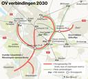 De nieuwe ov-verbindingen die Utrecht het liefst zou willen aanleggen in de stad. Bij een tramverbinding aan de zuidkant van Utrecht, moet een aantakking op Rijnenburg in de toekomst mogelijk zijn.