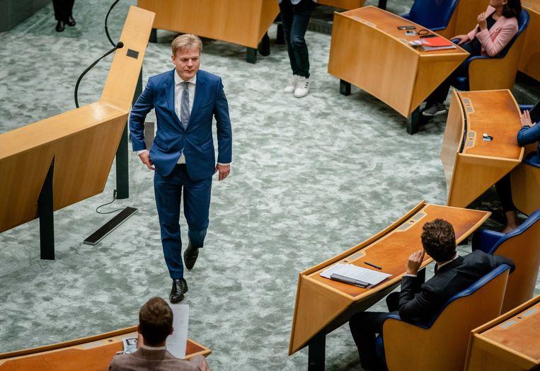 Pieter Omtzigt (Groep Omtzigt) tijdens het debat in de Tweede Kamer over de situatie in Afghanistan.  Beeld ANP - Bart Maat