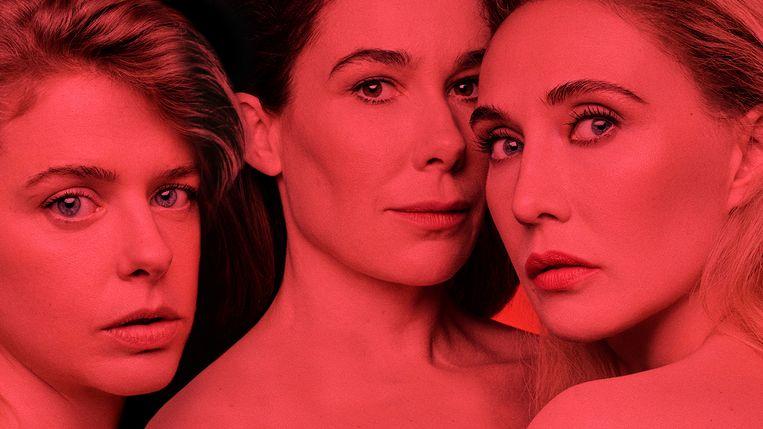 De VTM-serie 'Red Light', met Maaike Neuville, Halina Reijn en Carice van Houten, is beschikbaar op Streamz en wordt later uitgezonden bij VTM. Beeld Streamz