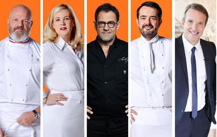 Les chefs Philippe Etchebest, Hélène Darroze, Michel Sarran et Jean-François Piège. L'animateur Stéphane Rotenberg.