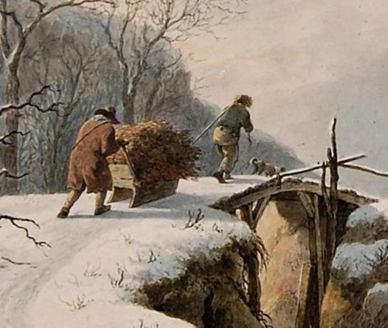 Abraham Teerlink, Winterlandschap met figuren [detail], 1804, Dordrechts Museum. Beeld Dordrechts Museum
