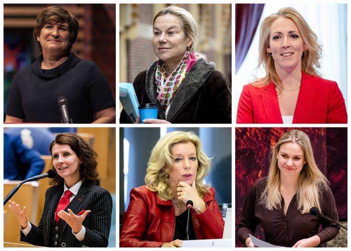Zes van de tien vrouwelijke lijsttrekkers die bij de komende verkiezingen op het stembiljet staan: Lilianne Ploumen (PvdA), Sigrid Kaag (D66), Lilian Marijnissen (SP), Esther Ouwehand (PvdD), Liane van den Haan (50Plus) en Femke Merel van Kooten-Arissen (Splinter).