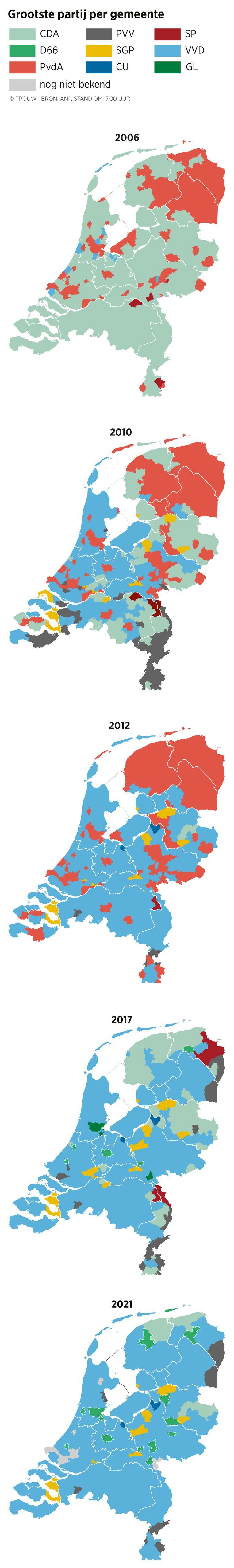 De grootste partijen per gemeente bij de Tweede Kamerverkiezingen van 2006, 2010, 2012, 2017 en 2021. Beeld Sander Soewargana